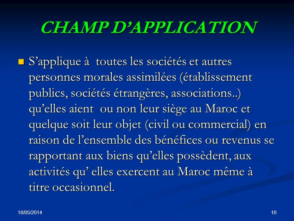 CHAMP D'APPLICATION