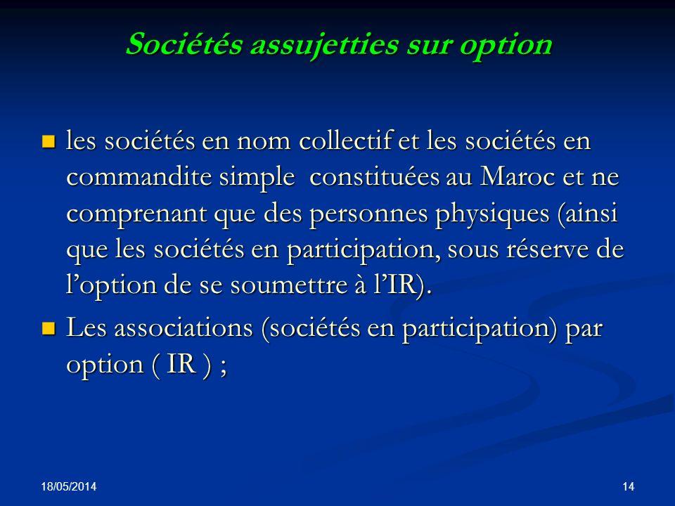Sociétés assujetties sur option