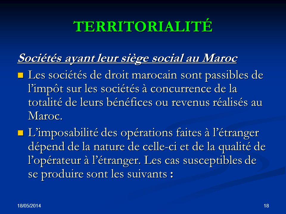 TERRITORIALITÉ Sociétés ayant leur siège social au Maroc