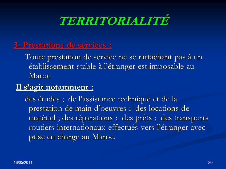 TERRITORIALITÉ 3- Prestations de services :