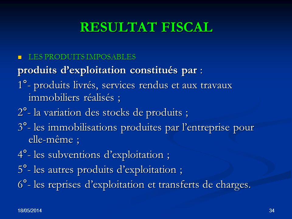 RESULTAT FISCAL produits d'exploitation constitués par :