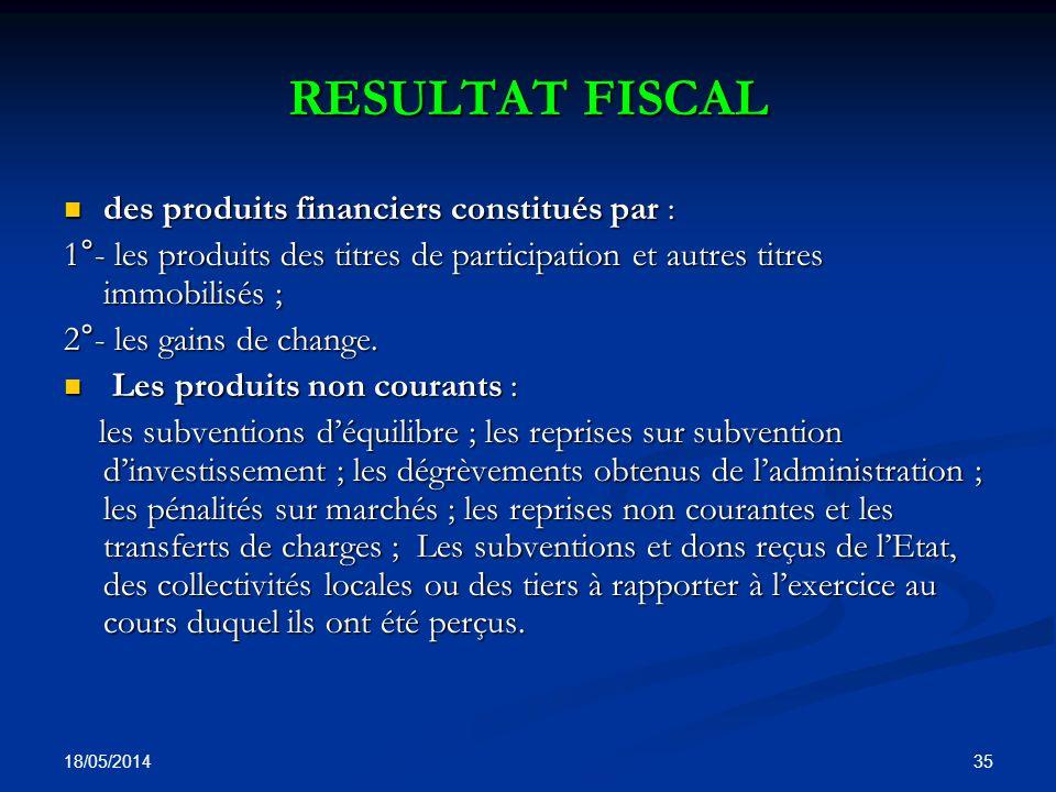 RESULTAT FISCAL des produits financiers constitués par :