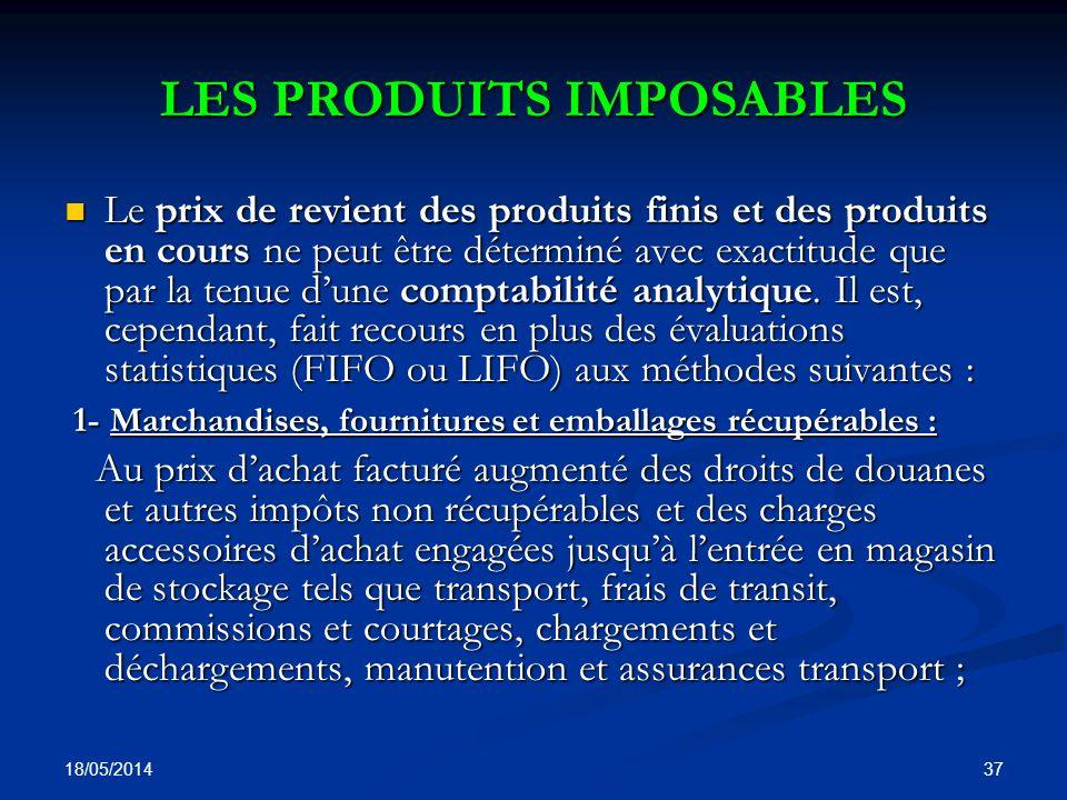 LES PRODUITS IMPOSABLES