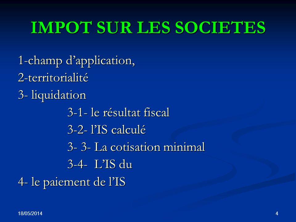 IMPOT SUR LES SOCIETES 1-champ d'application, 2-territorialité