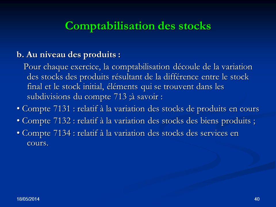 Comptabilisation des stocks