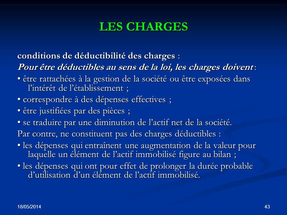 LES CHARGES conditions de déductibilité des charges :