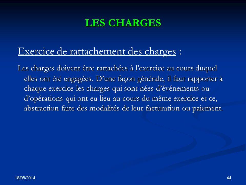 Exercice de rattachement des charges :