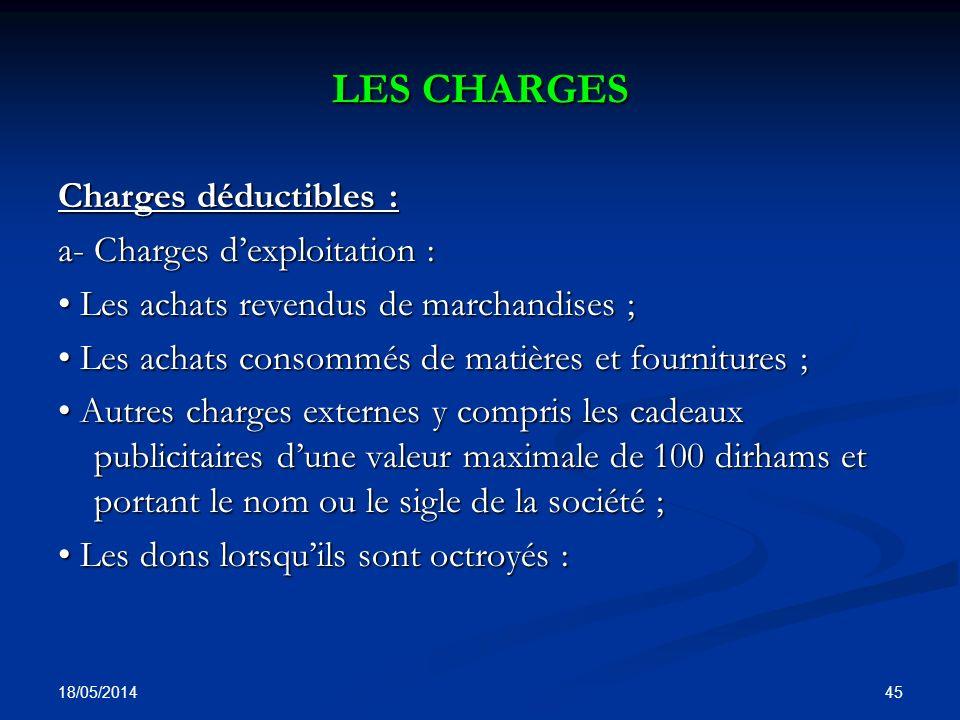 LES CHARGES Charges déductibles : a- Charges d'exploitation :