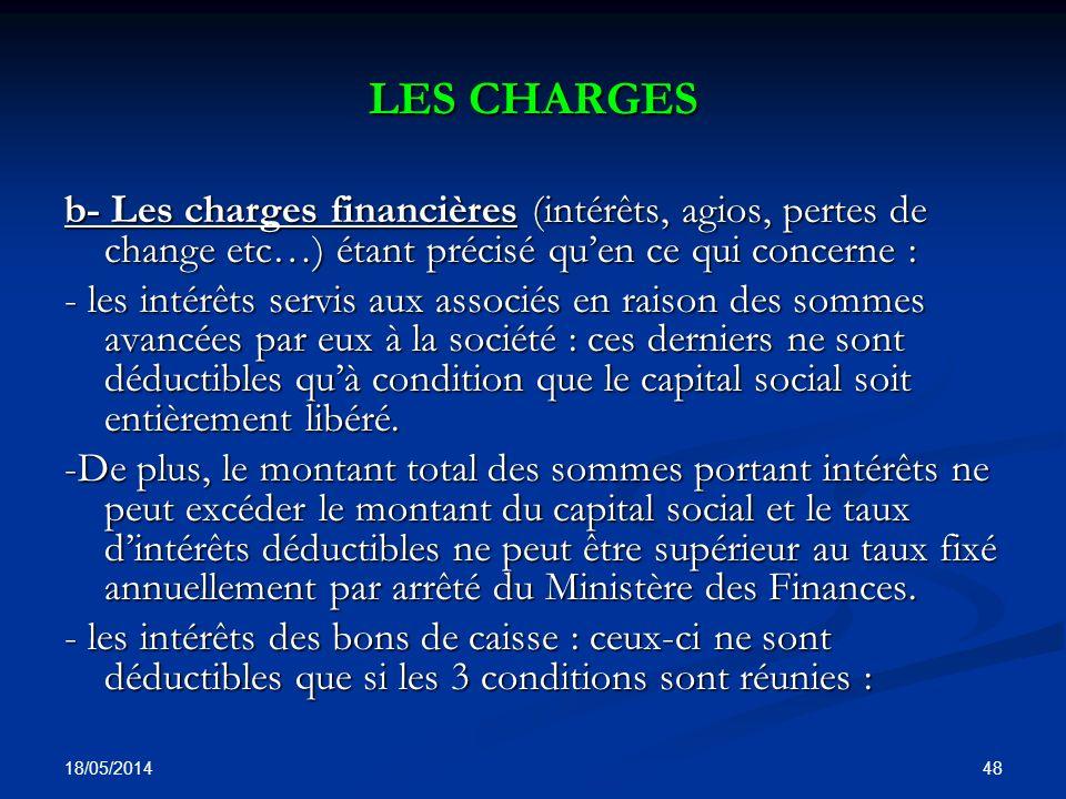 LES CHARGES b- Les charges financières (intérêts, agios, pertes de change etc…) étant précisé qu'en ce qui concerne :