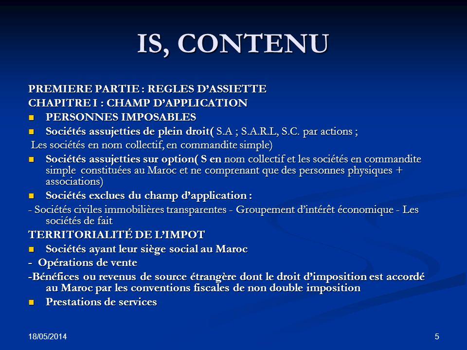 IS, CONTENU PREMIERE PARTIE : REGLES D'ASSIETTE