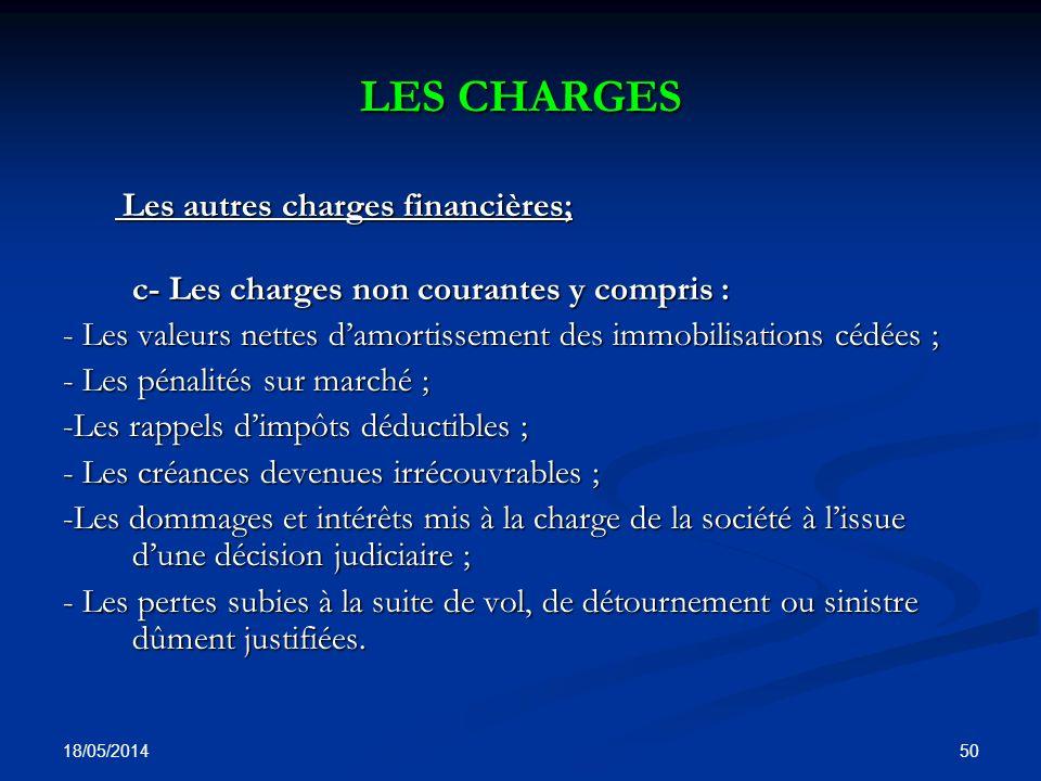 LES CHARGES c- Les charges non courantes y compris :