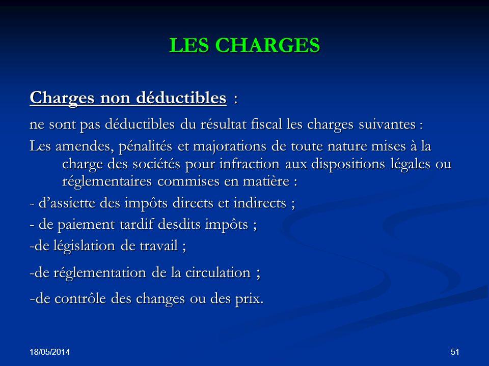 LES CHARGES Charges non déductibles :