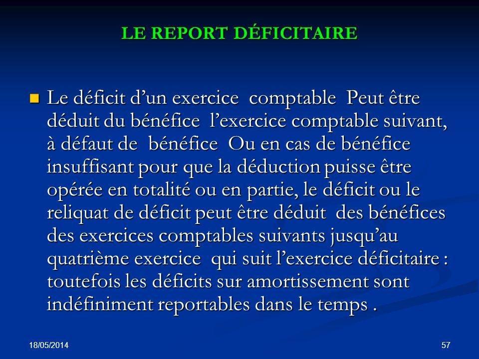 LE REPORT DÉFICITAIRE