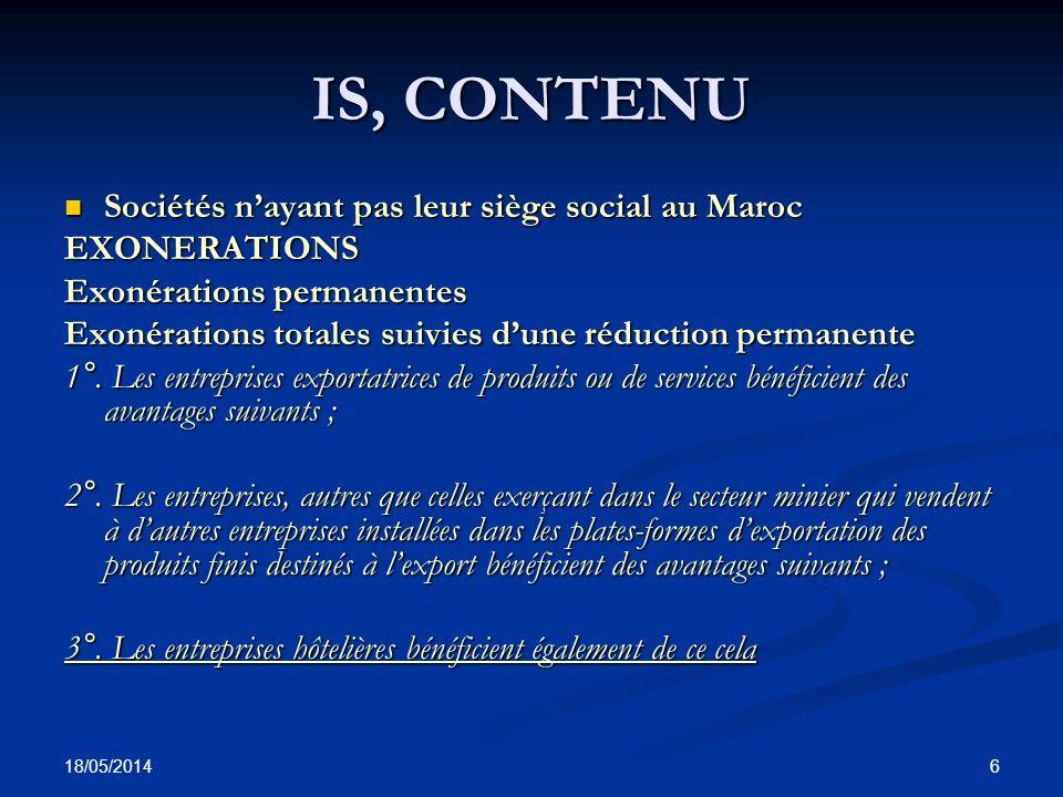 IS, CONTENU Sociétés n'ayant pas leur siège social au Maroc