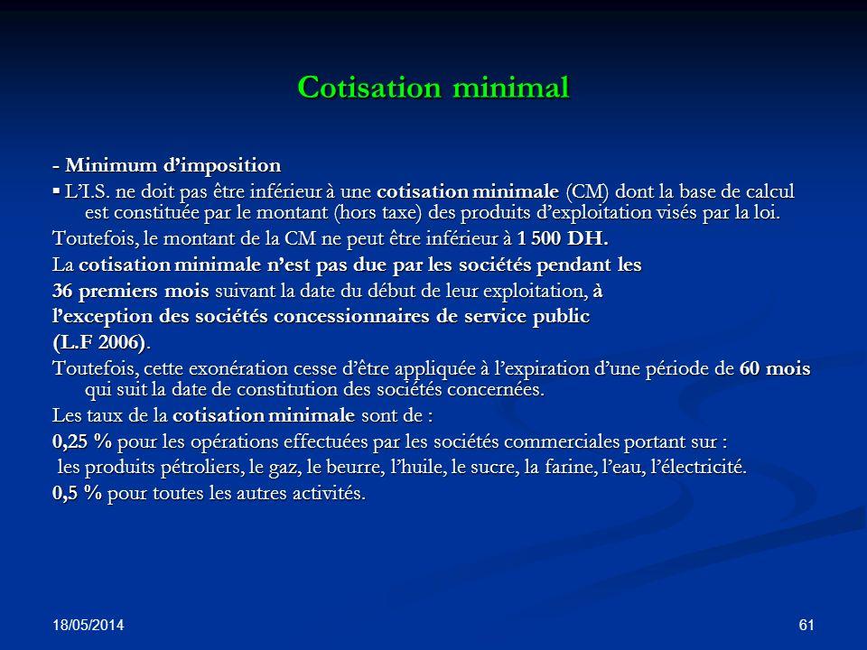 Cotisation minimal - Minimum d'imposition