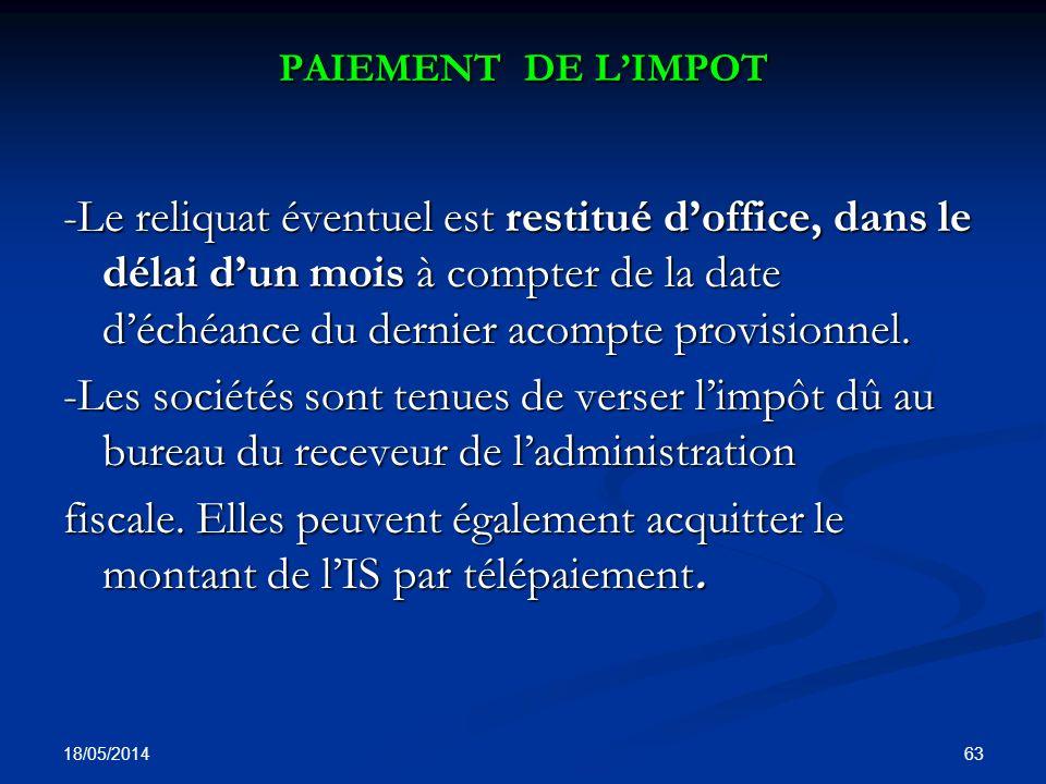 PAIEMENT DE L'IMPOT