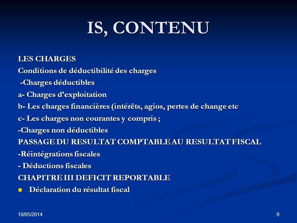 IS, CONTENU LES CHARGES Conditions de déductibilité des charges