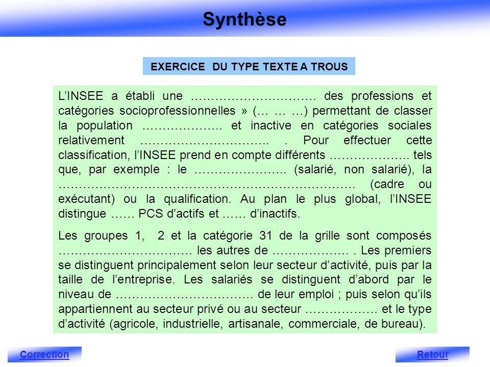 EXERCICE DU TYPE TEXTE A TROUS