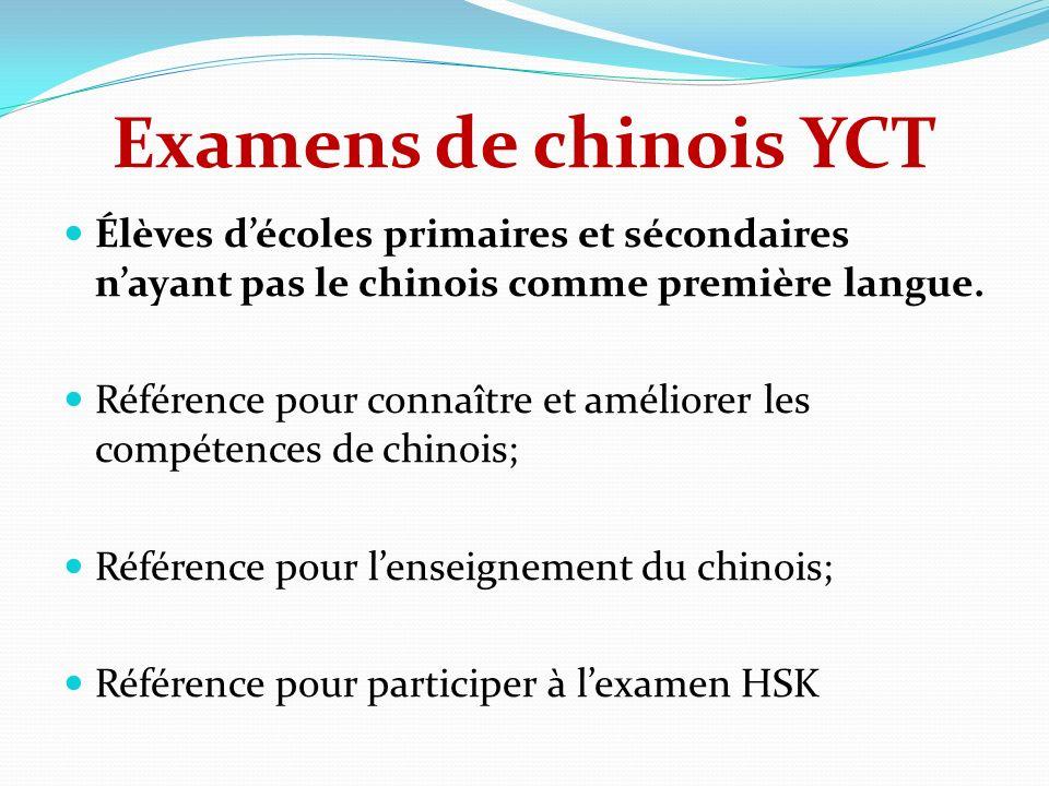 Examens de chinois YCT Élèves d'écoles primaires et sécondaires n'ayant pas le chinois comme première langue.