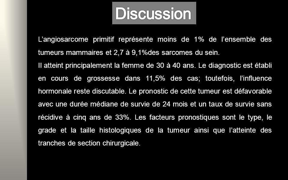 Discussion L'angiosarcome primitif représente moins de 1% de l'ensemble des tumeurs mammaires et 2,7 à 9,1%des sarcomes du sein.