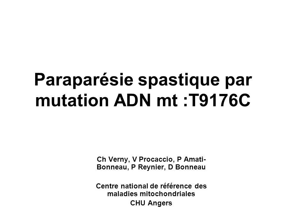 Paraparésie spastique par mutation ADN mt :T9176C