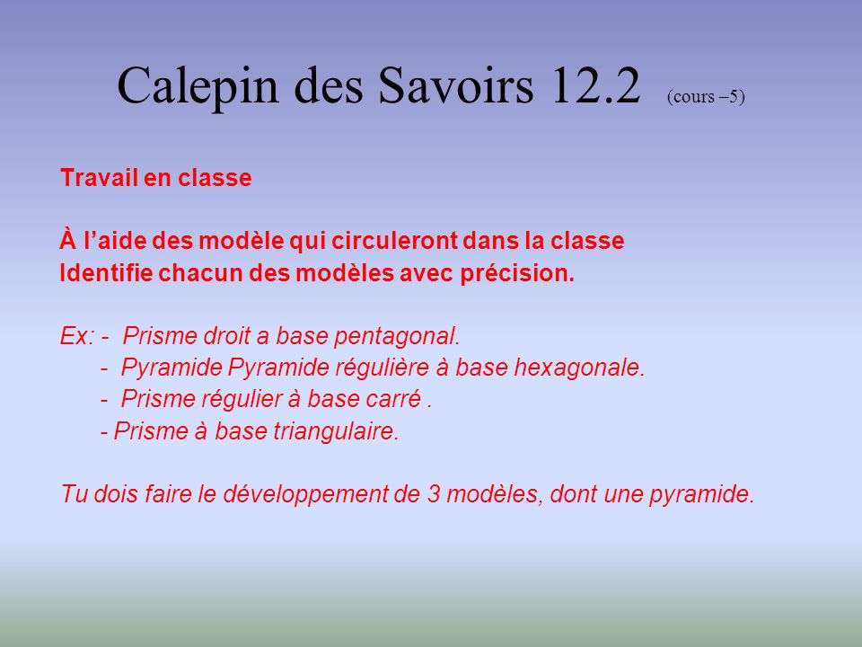 Calepin des Savoirs 12.2 (cours –5)