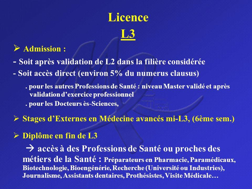 Licence L3.  Admission : - Soit après validation de L2 dans la filière considérée. - Soit accès direct (environ 5% du numerus clausus)