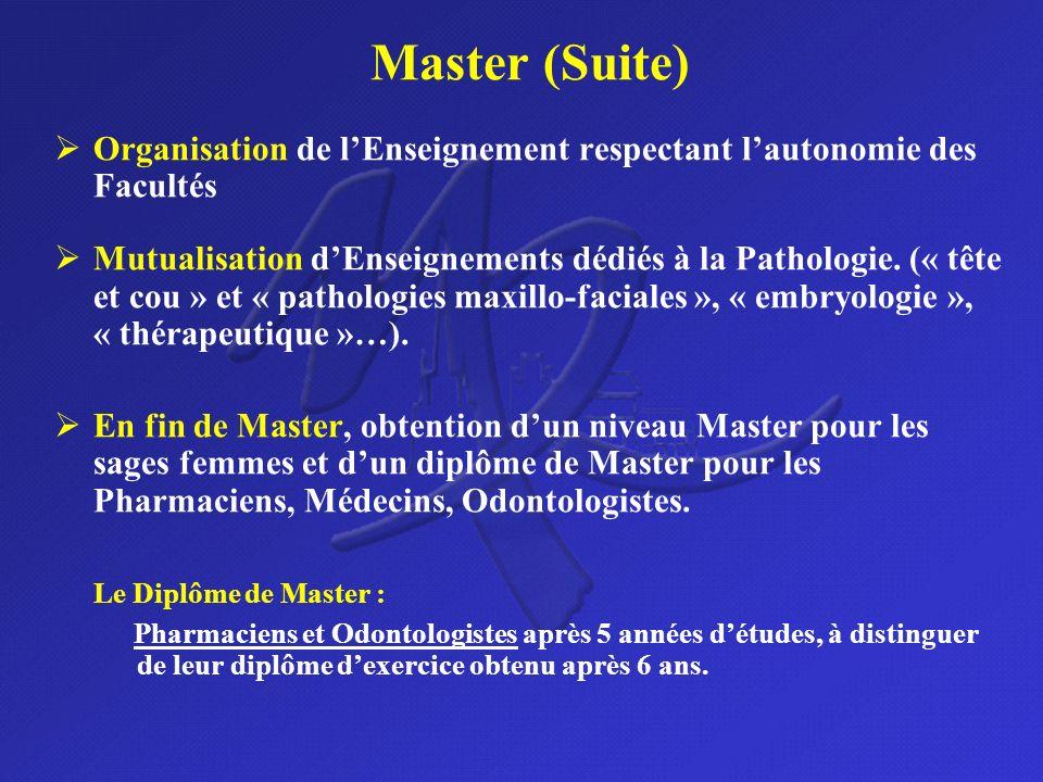 Master (Suite) Organisation de l'Enseignement respectant l'autonomie des Facultés.