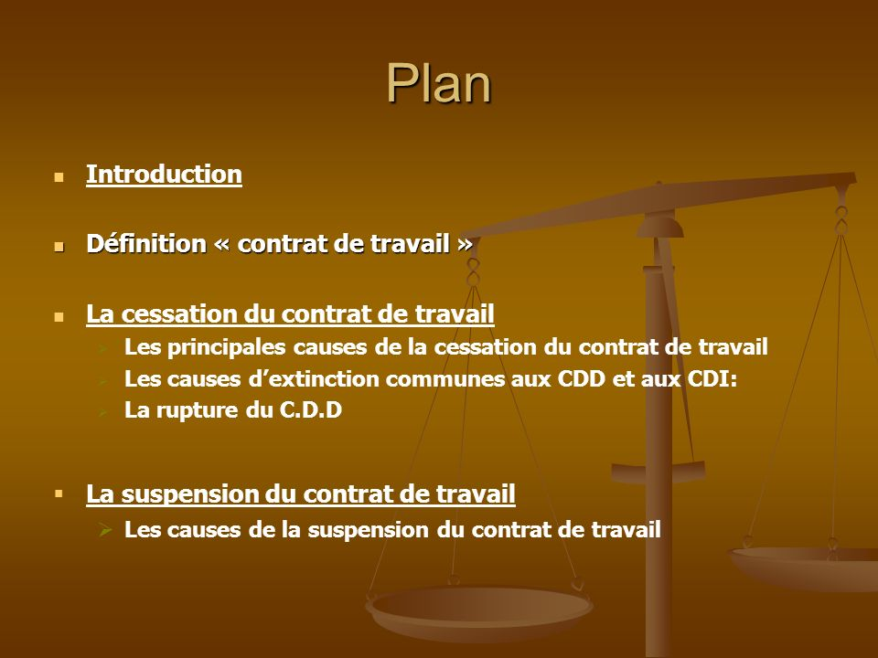 La cessation et la suspension du contrat de travail   ppt video