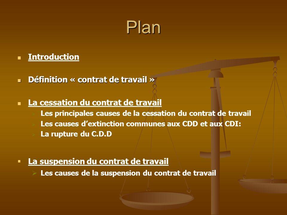 Plan Introduction Définition « contrat de travail »