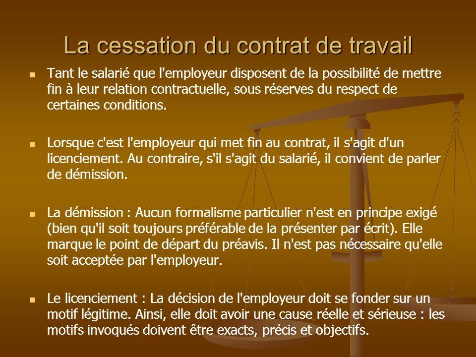 La cessation du contrat de travail