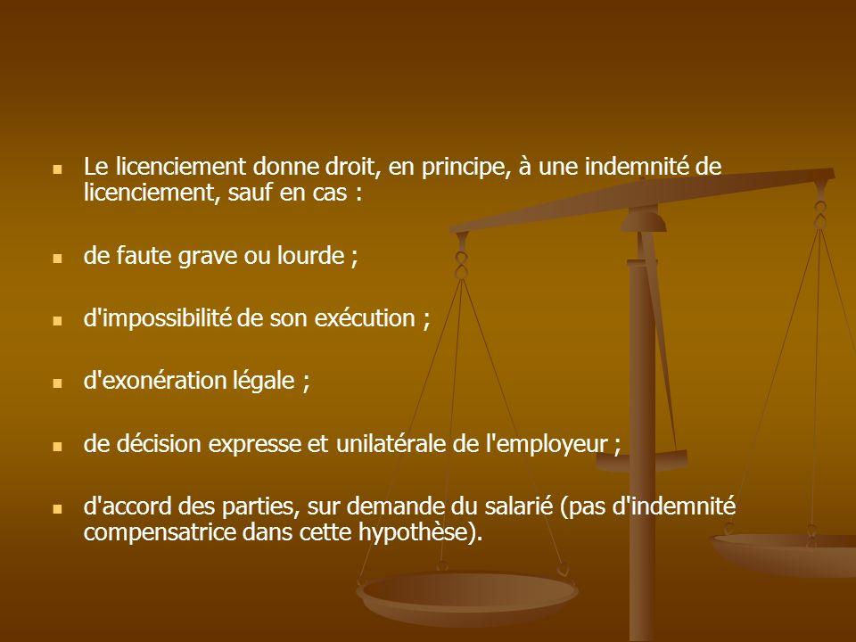 Le licenciement donne droit, en principe, à une indemnité de licenciement, sauf en cas :