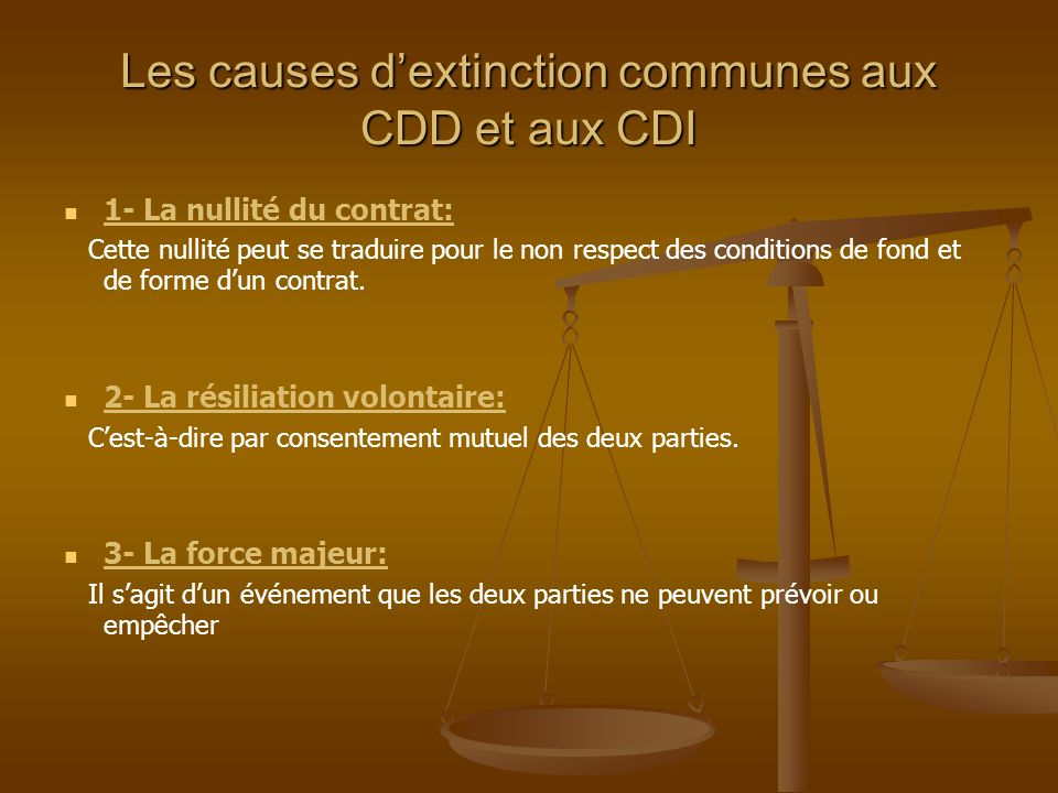 Les causes d'extinction communes aux CDD et aux CDI