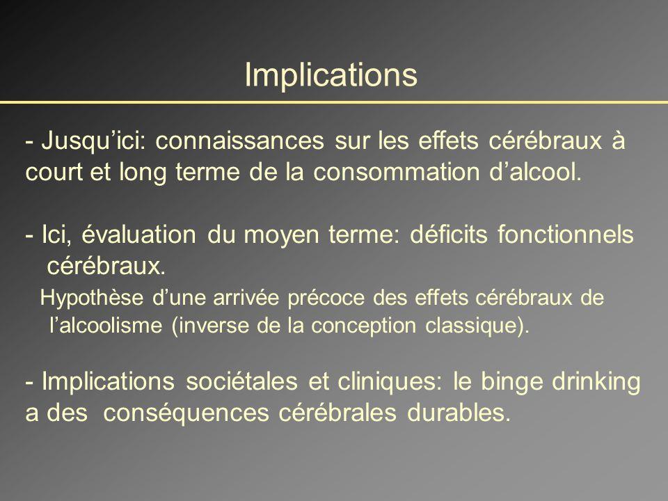 Implications - Jusqu'ici: connaissances sur les effets cérébraux à court et long terme de la consommation d'alcool.
