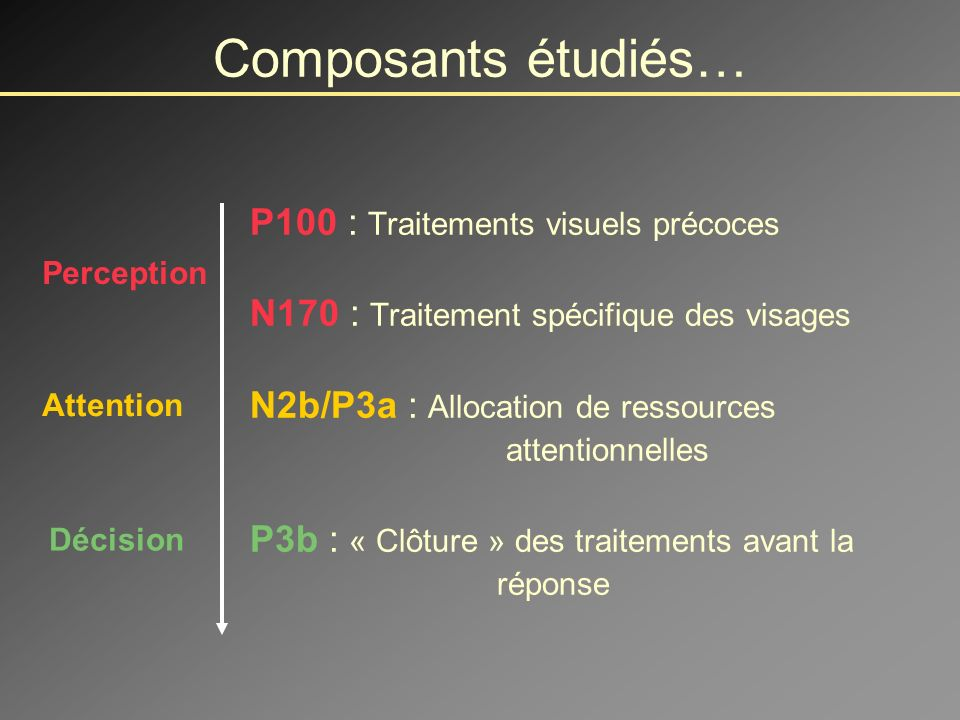 Composants étudiés… P100 : Traitements visuels précoces