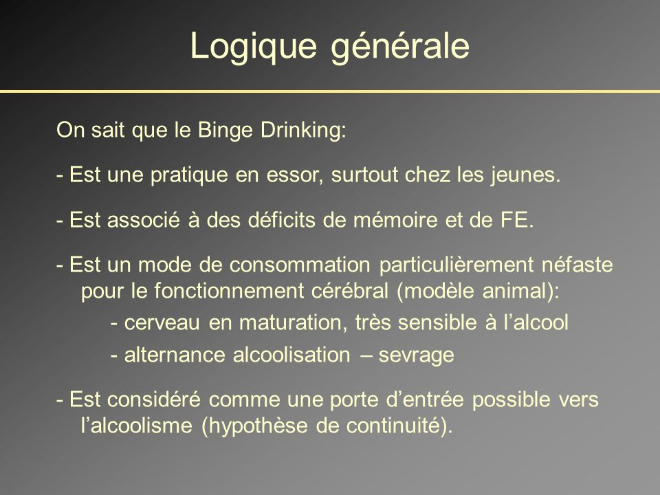 Logique générale On sait que le Binge Drinking: