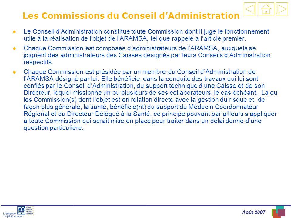 Les Commissions du Conseil d'Administration
