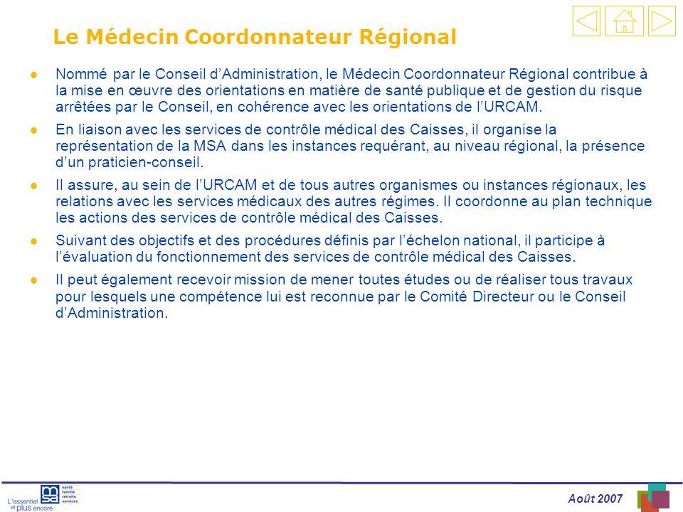Le Médecin Coordonnateur Régional