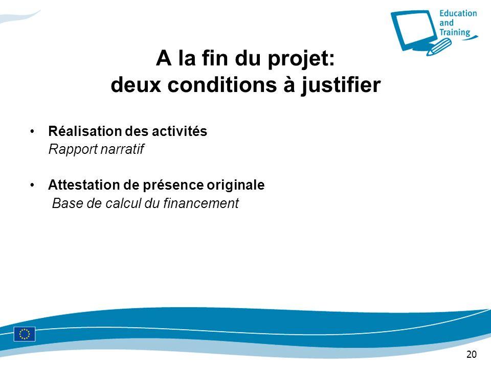A la fin du projet: deux conditions à justifier