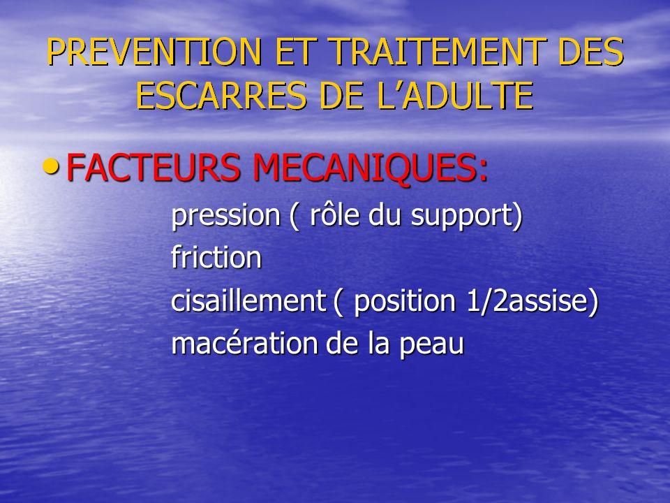 FACTEURS MECANIQUES: pression ( rôle du support) friction
