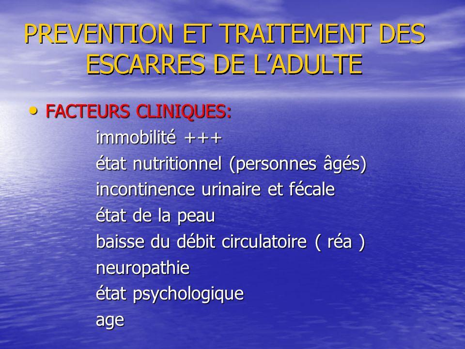 FACTEURS CLINIQUES: immobilité +++ état nutritionnel (personnes âgés) incontinence urinaire et fécale.