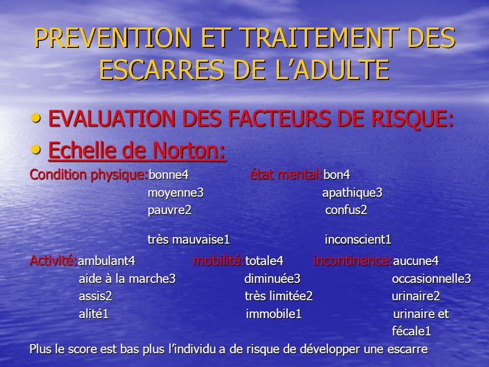 EVALUATION DES FACTEURS DE RISQUE: Echelle de Norton: