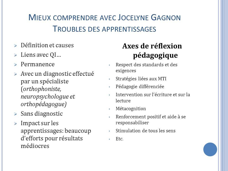 Mieux comprendre avec Jocelyne Gagnon Troubles des apprentissages