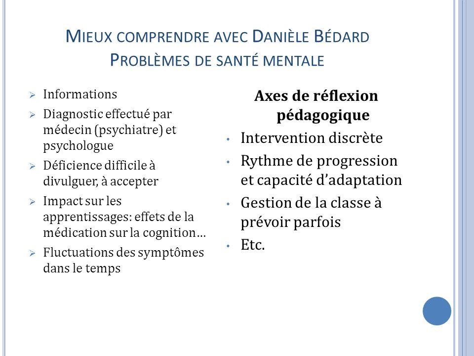 Mieux comprendre avec Danièle Bédard Problèmes de santé mentale