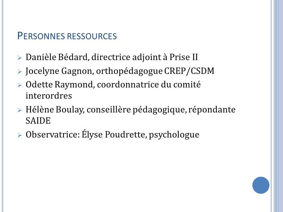 Personnes ressources Danièle Bédard, directrice adjoint à Prise II