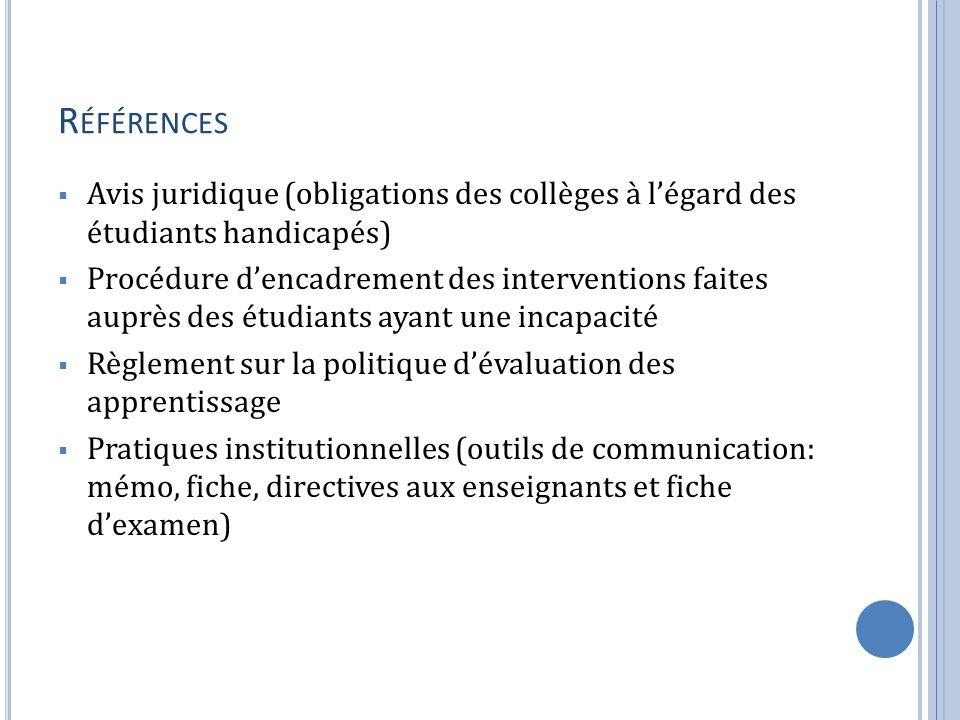 Références Avis juridique (obligations des collèges à l'égard des étudiants handicapés)