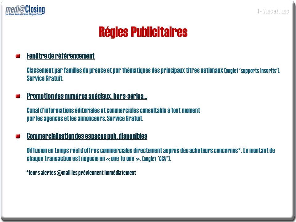 Régies Publicitaires Fenêtre de référencement