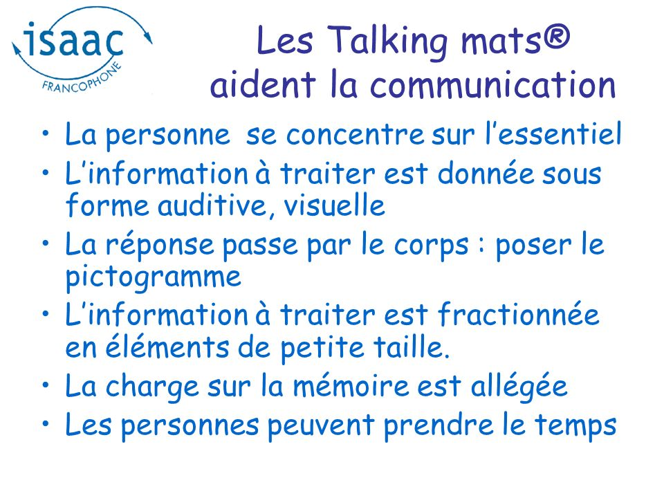 Les Talking mats® aident la communication