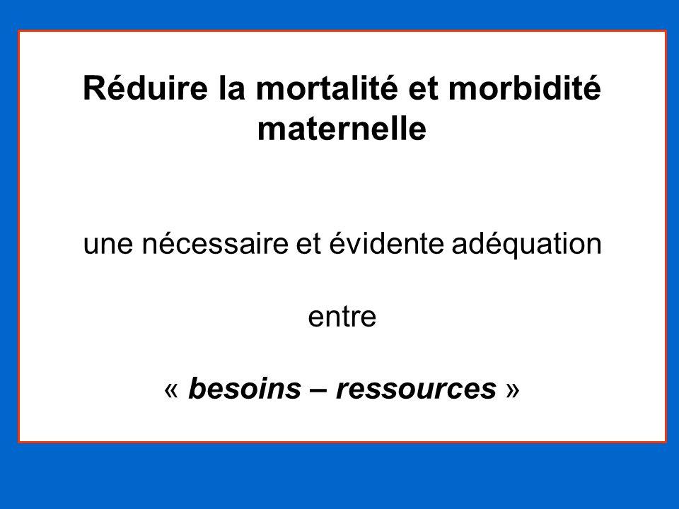 Réduire la mortalité et morbidité maternelle une nécessaire et évidente adéquation entre « besoins – ressources »