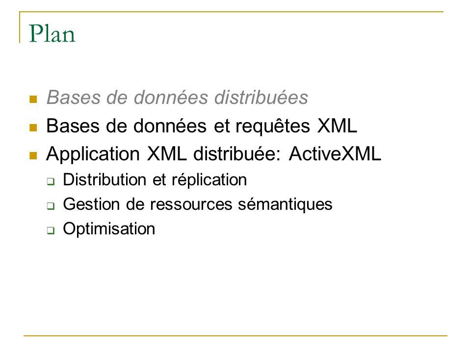 Plan Bases de données distribuées Bases de données et requêtes XML
